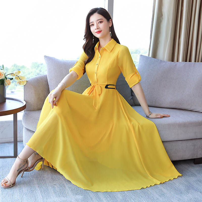Yellow Dress Casual A-Line Solid Long