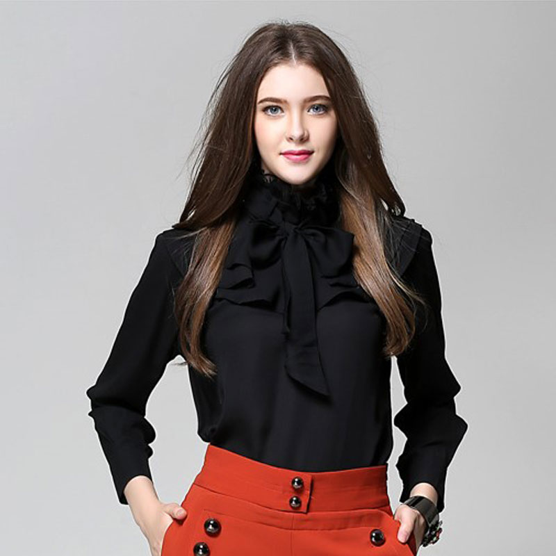109afcca4a09e MISS36 - Ladies Black Chiffon Pleated Long Sleeve Bow Tie Neck Ruffles  Shirts